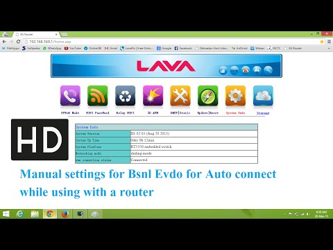 Lava Router settings for BSNL EVDO data card using unlocked mts modem