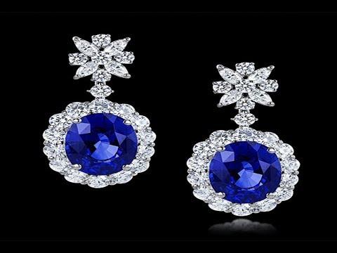 Blue Stone Shire Earrings Drop Models Trendy Stonework