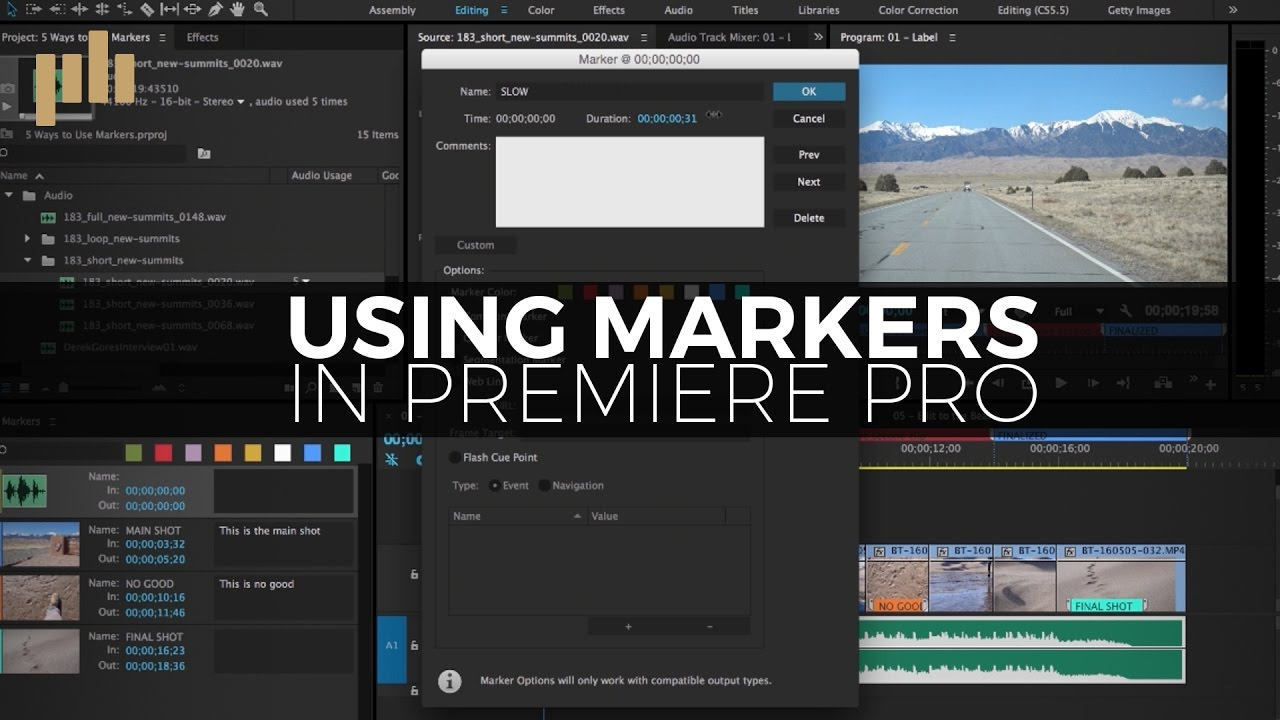 how to delete markers in premiere pro