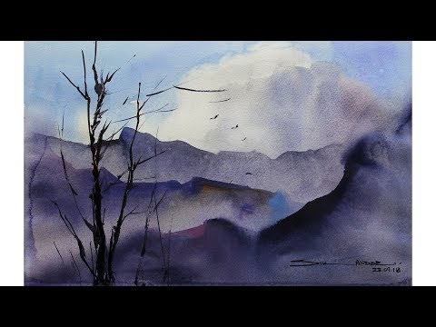 easy watercolour landscape by sikander singh chandigarh india