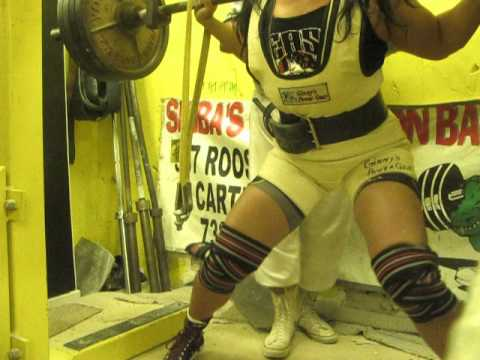 "Jessica Scofield ""Power Princess,"" 480 Squat using Ginny Phillips suit & RHINO knee wraps"