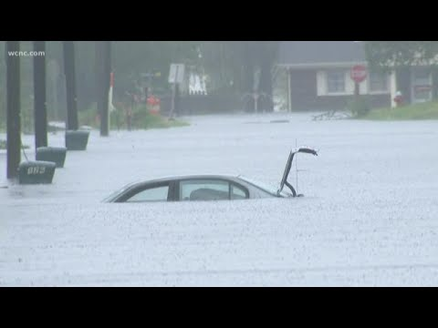 Florence: Car Almost Completely Submerged In Jacksonville, NC