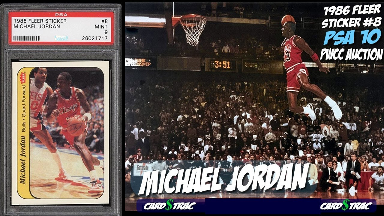 1986 Michael Jordan Rookie Card Gem Mint Rc Fleer Sticker 8 Psa 10