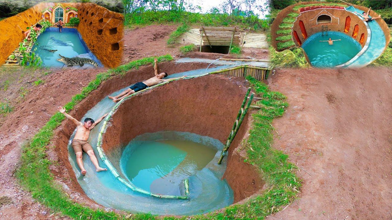 Top 3 The Best Video Build Swimming Pool Water Slide Around Secret Underground House