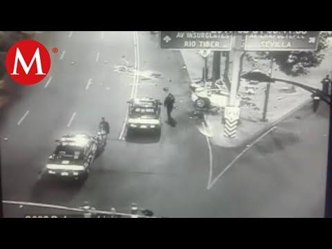 Captan a BMW circular a exceso de velocidad antes de chocar en Reforma
