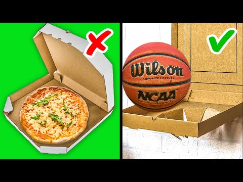 33 CARDBOARD HACKS AND PAPER CRAFTS TO BOOST YOUR MOTOR SKILLS    Basketball Ring From Pizza Box!
