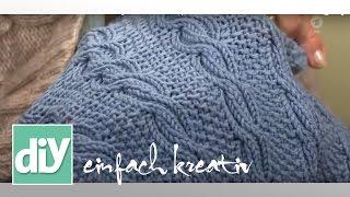Schal und Seelenwärmer im beidseitig verwendbaren Zopfmuster | DIY einfach kreativ thumbnail