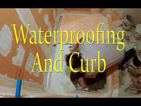 Waterproofing the shower and installing the curb, Kerdi-Line Drain Shower