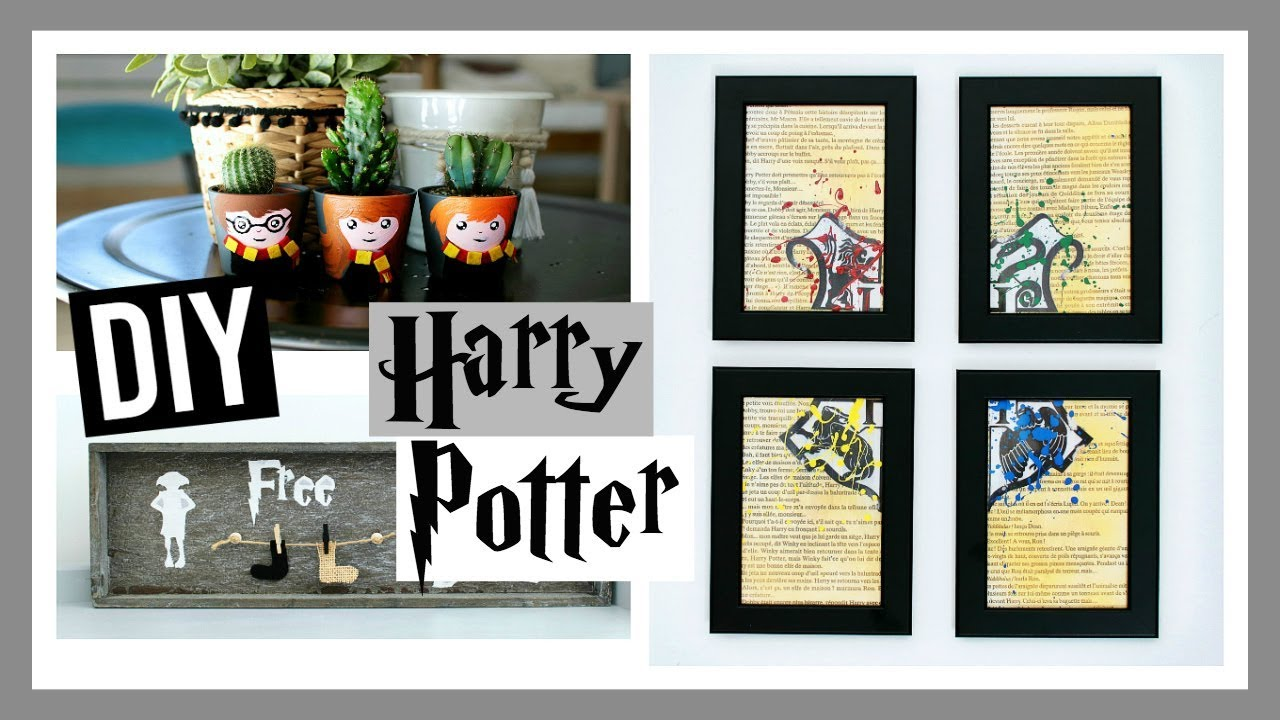 diy harry potter room decor deco chambre facile fran ais youtube. Black Bedroom Furniture Sets. Home Design Ideas