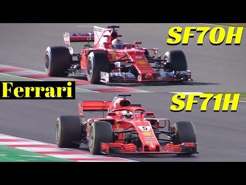 2018 Ferrari SF71H vs 2017 Ferrari SF70H - Comparison on track - Formula One [F1] Pre-Season Tests