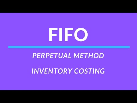 Inventory costing - FIFO, Perpetual