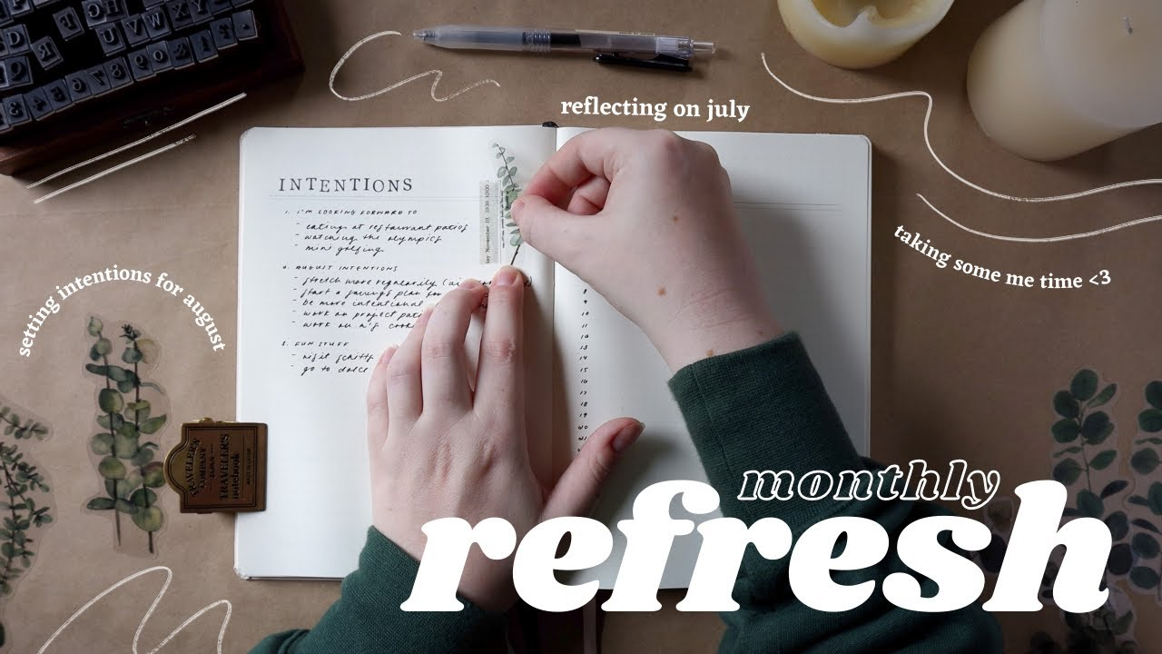 Download my peaceful monthly refresh routine ✨   2 bullet journal spread ideas for intentional goal setting