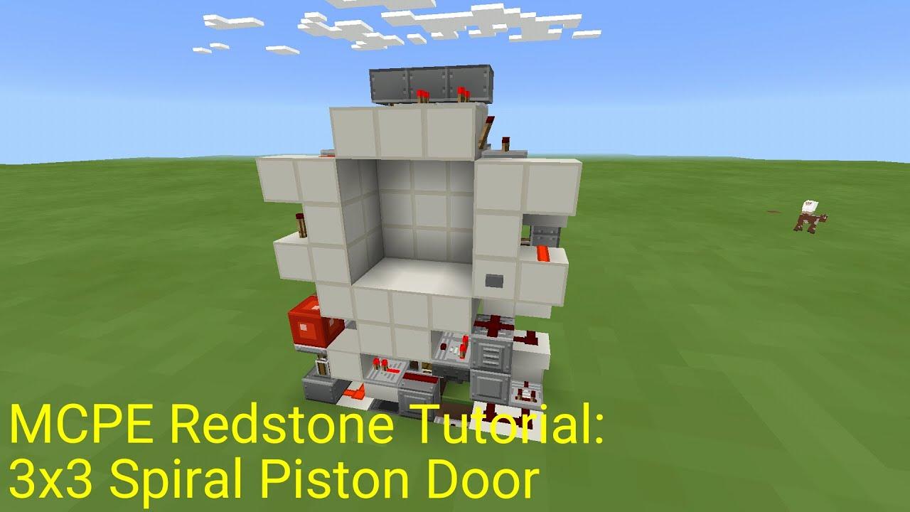 Minecraft Pocket Edition Redstone Tutorial: 3x3 Spiral Piston Door (MCPE 0.16.0) - YouTube