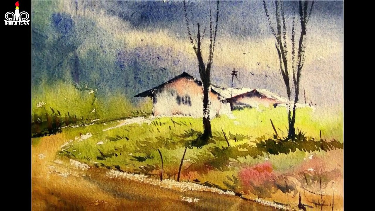 Watercolor Landscale Painting How To Paint Wash Technique For Begginers