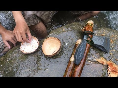Primitive Technology: Survival Skills Stone Ax, Coconut Cutting