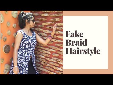 fake-braid-hairstyle-||-cute-hairstyles-||-simple-hairstyles-||-ponytail-||-easy-hairstyles