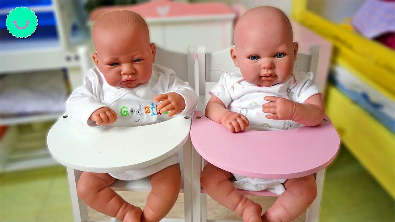 Rutina de mañana de los bebés Reborns Andrea y Andrés