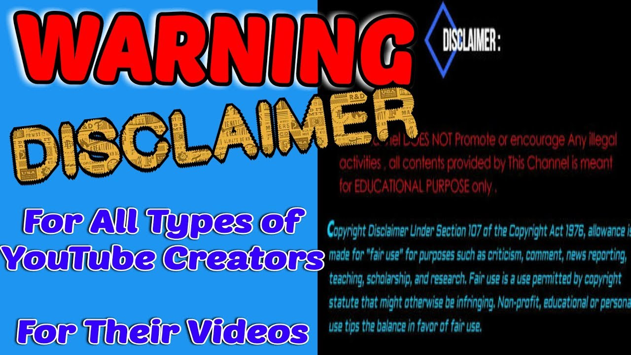 Disclaimer for YouTube videos template - Copyright disclaimer | No ...