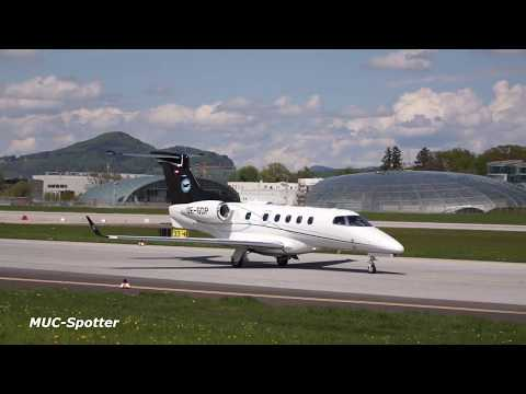 Private Jet Compilation Takeoff & Landing at Munich and Salzburg Airport Learjet Gulfstream ....