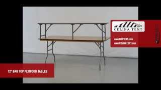 "6' X 14.75"" Bar Top Plywood Folding Table"