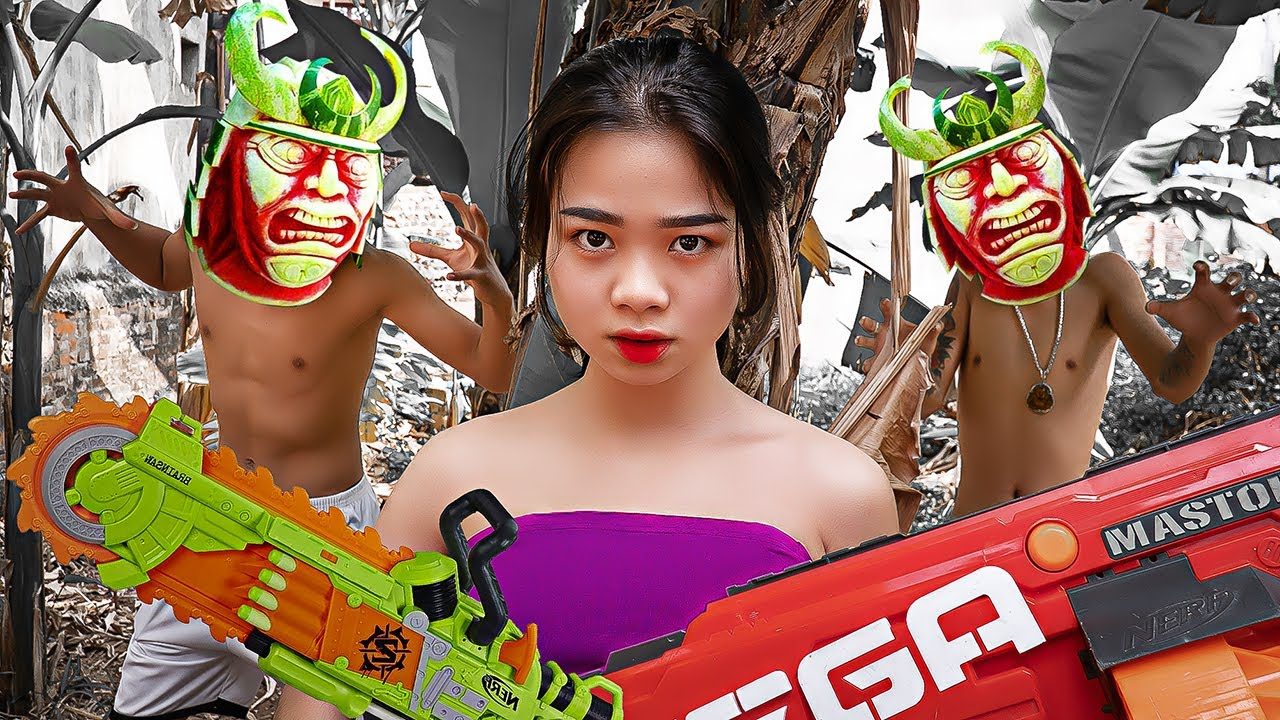 Pink Girl Nerf War: Dr. Make Zombies From Watermelon & Ms.Lily Nerf Guns Against Chemical Crime