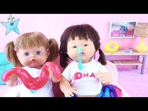Ani y Ona Nenuco juegan a hacer SLIME de colores