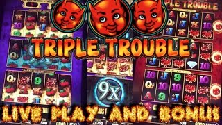 HUGE WIN!!! LIVE PLAY and Bonus on Triple Trouble Slot Machine