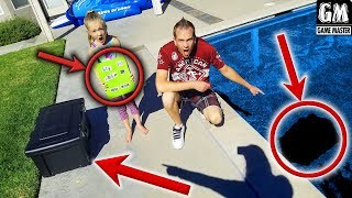 Game Master GM Drops 2 Mystery Boxes in Our Pool! Secret Message & Spadger Hoverboard Found!!