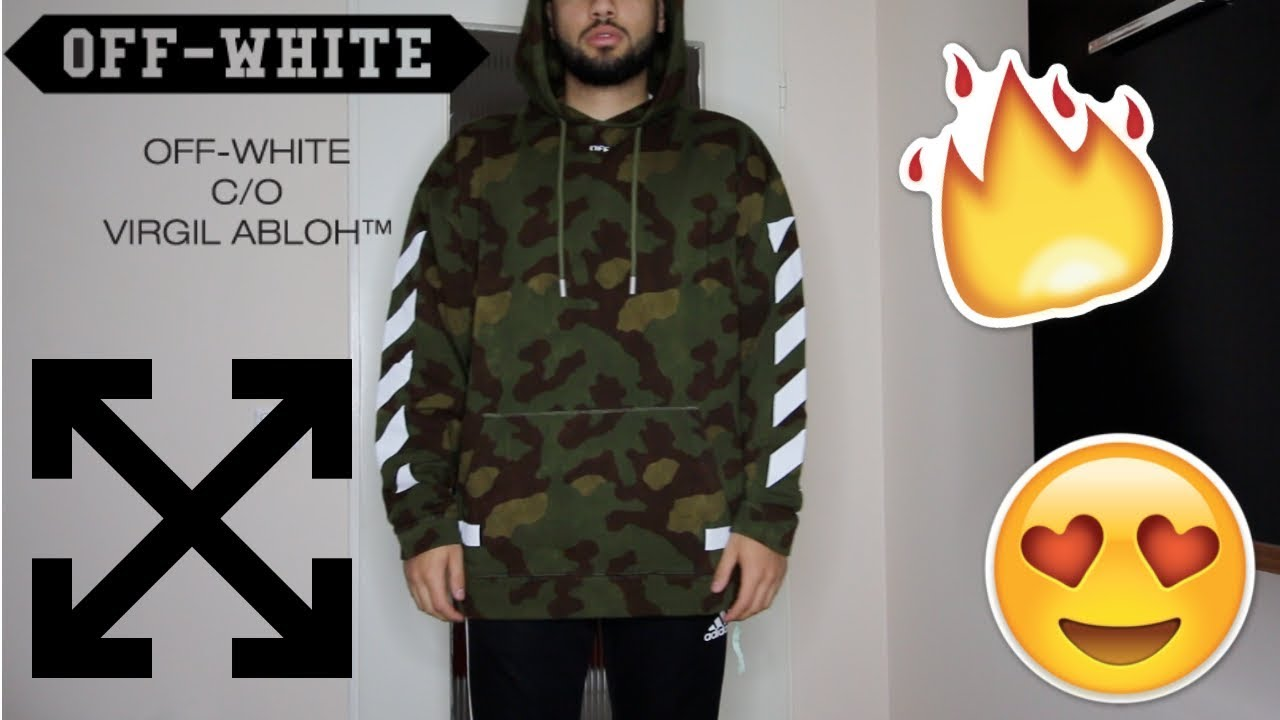 Off White Camouflage Arrows Hoodie Unboxing Sizing Review Youtube