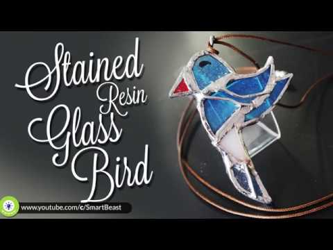 the BIRD - How to use resin and  stained glass technique to make jewelry