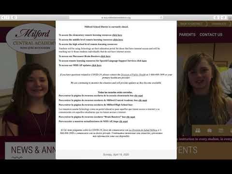 Milford Central Academy Distance Learning Instructions/Cómo encontrar las tareas en línea de MCA