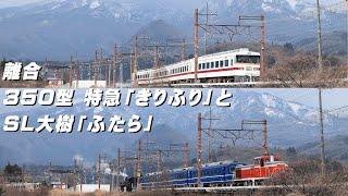 SL大樹「ふたら」と350型 特急「きりふり」の離合(すれ違い) / 東武鉄道 日光線