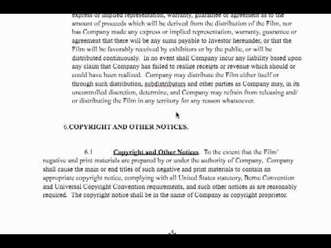 Film Investor Contract - YouTube - investor contract sample
