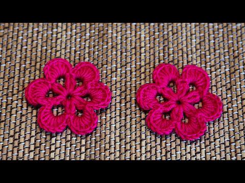 Easy Crochet Flower - ถักดอกไม้โครเชต์