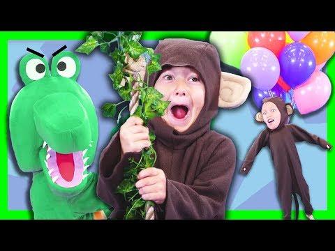 5 Little Monkeys Swinging in a Tree | Mr. Crocodile Song (You Can't Catch Me)