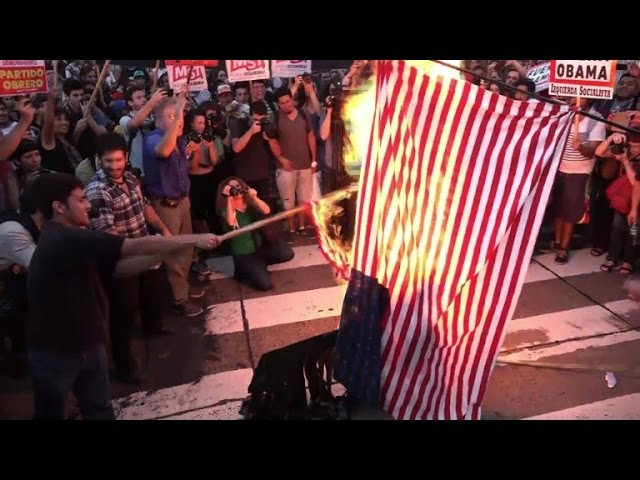 'Protesters in Buenos Aires burn US flags against Obama's visit'