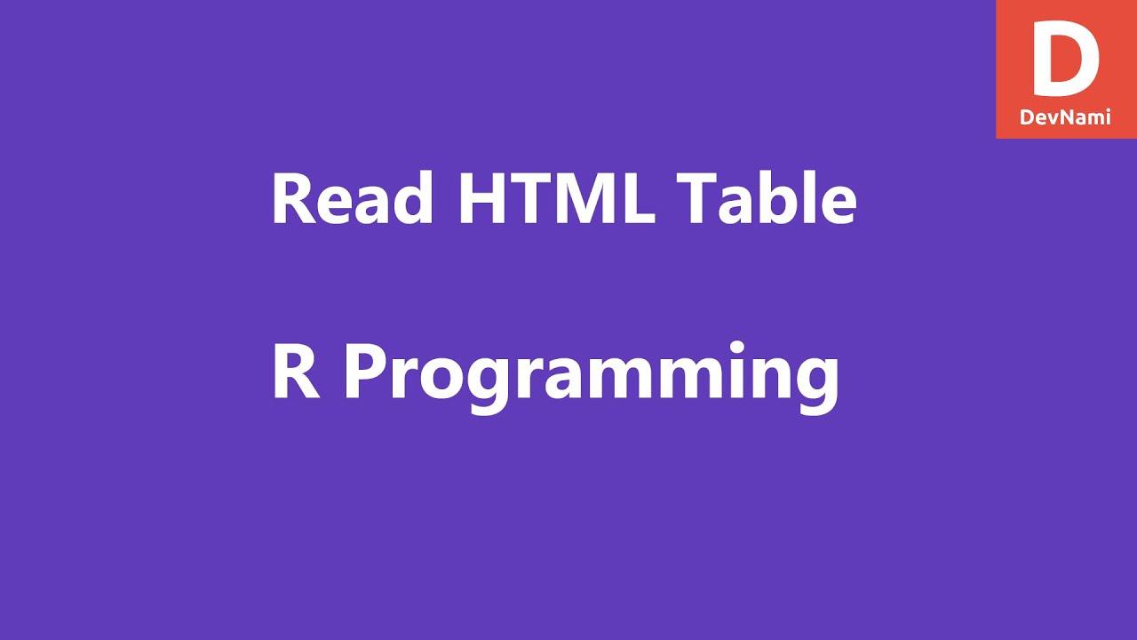 R Programming Read HTML Table