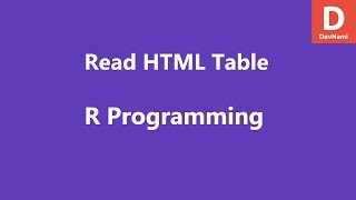 R Programming Read HTML Table