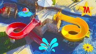 SUPER FUN Water Park Max Playing and Splashing In Aqua Park The Muffin Man Kids Music Entertainment