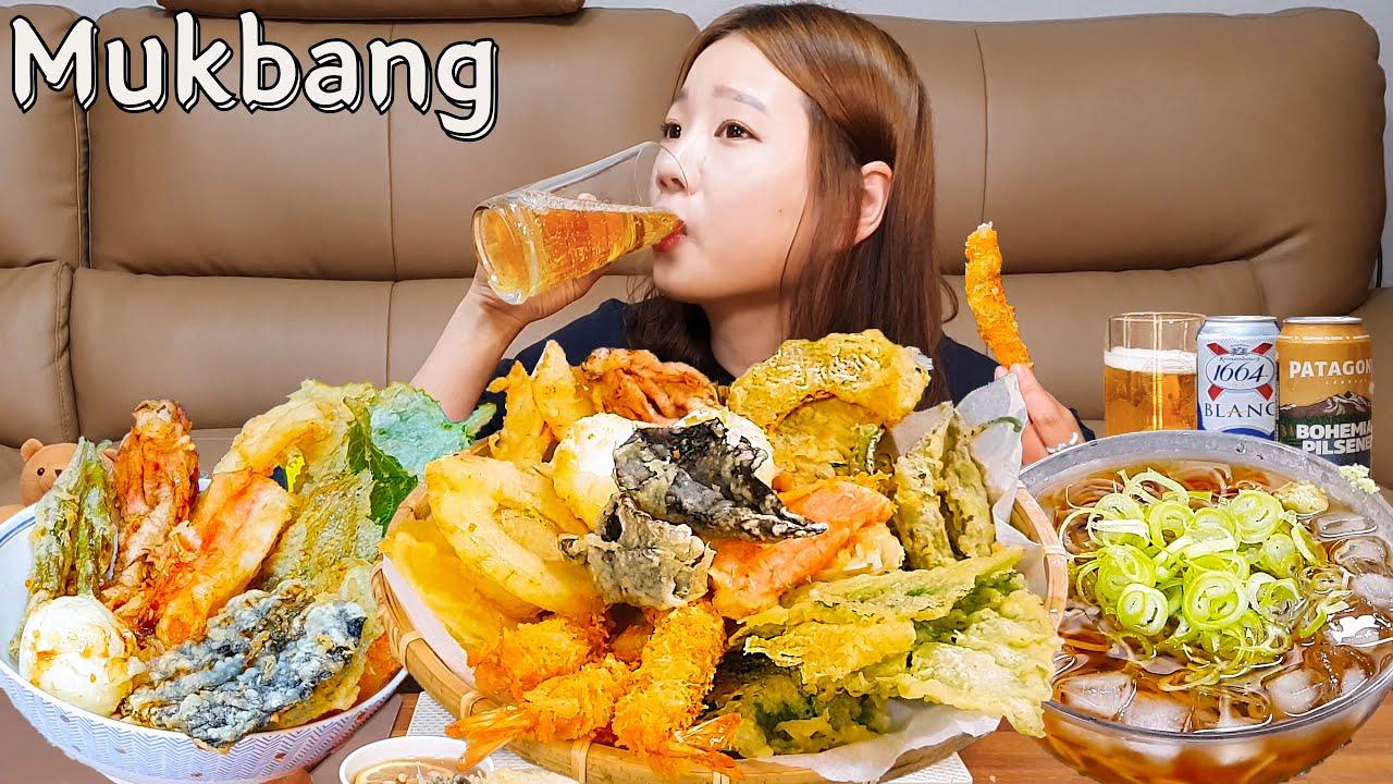 🍤모듬텐동+냉메밀소바먹방🍜신발빼고 다 튀겨 만든 텐동에 초간단 메밀소바엔 맥주두캔 순삭🍻TENDONG SOBA MUKBANG ASMR EATINGSHOW REALSOUND