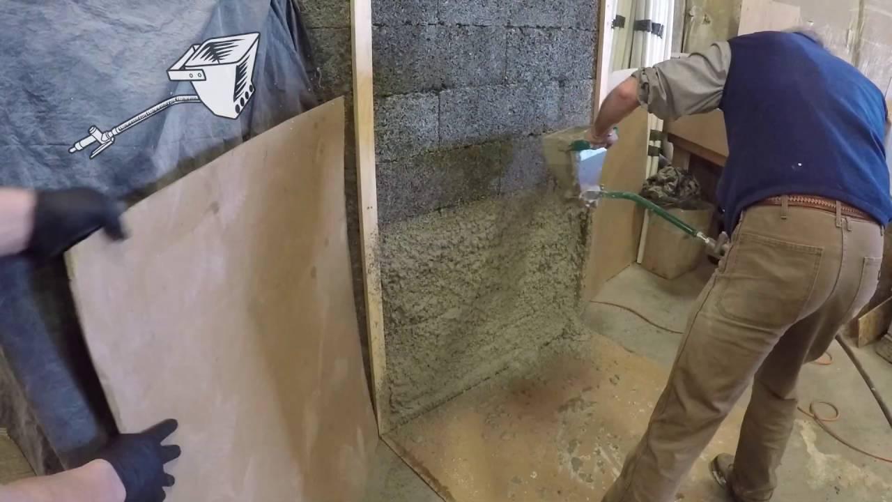 Mortar Spray Machines Mail: Spraying Diathonite Onto FasWall Block