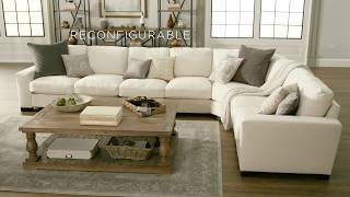 Lionel White Cotton Fabric Down-Filled L-Shaped Sectional by iNSPIRE Q Artisan