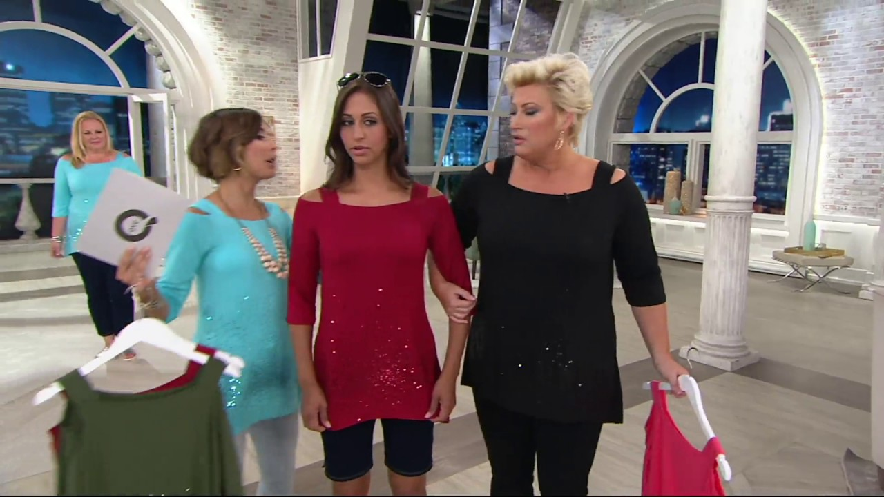 ad691f876203e2 Belle by Kim Gravel Sassy Sequin Cold Shoulder Tunic on QVC - YouTube