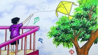 How to draw scenery of flying kite with color step by step (easy drawing video)