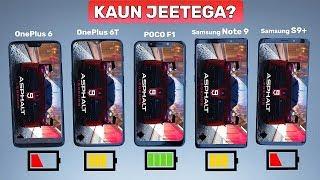 OnePlus 6T vs Poco F1 vs OnePlus 6 vs Samsung Note 9 vs S9 Plus Battery Drain Test + Benchmarks