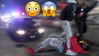 CRAZY FIGHT BREAKS OUT IN CHICAGO.. 9 COP CARS PULL UP DEEP‼️