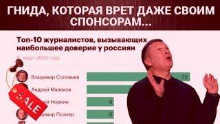 Дутые рейтинги Соловьева... ПРОПАГАНДОН врет даже спонсорам из Кремля