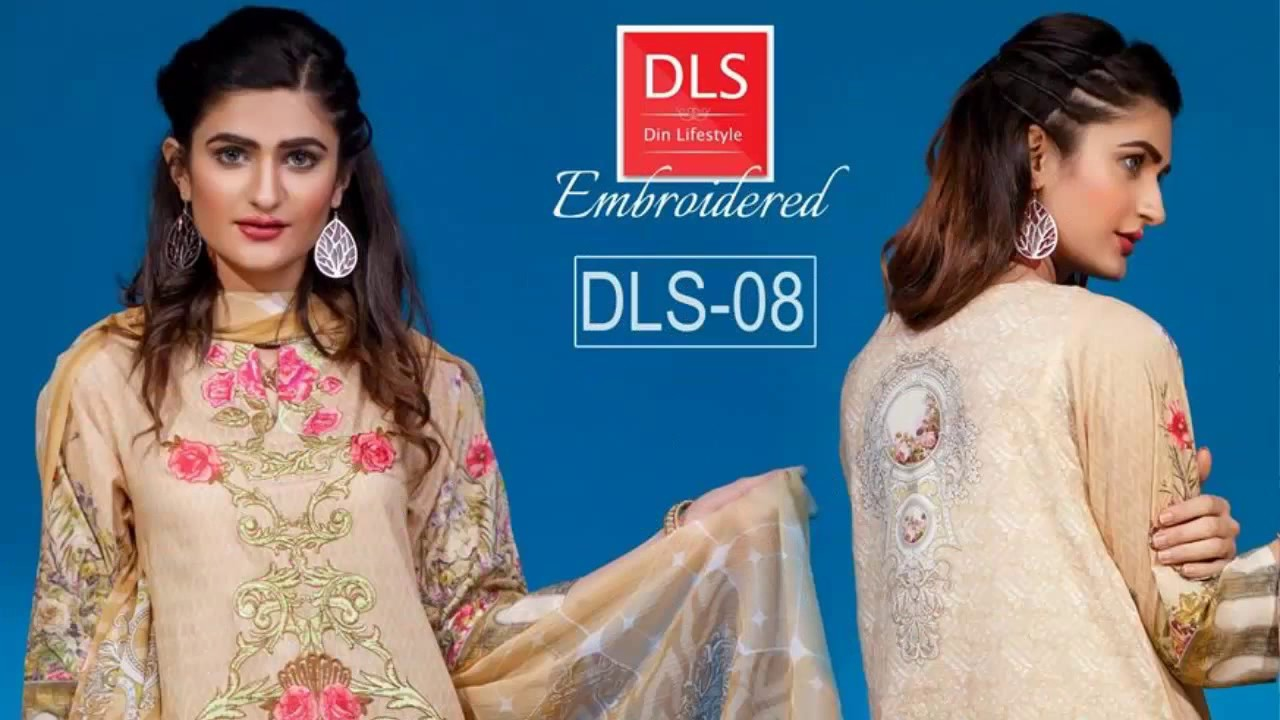 Din Lifestyle Digital Embroidered 3 PC Lawn HD Collection ...