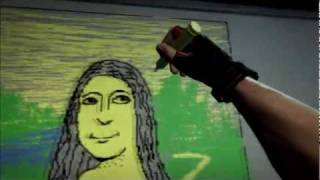 Mona Lisa in Duke Nukem Forever - whiteboard drawing