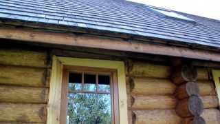 304 Cabin log house walls its wooden glass window and a new made cedar wooden shingle roof